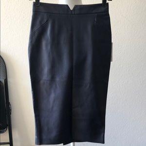 Navy blue Zara faux leather midi skirt